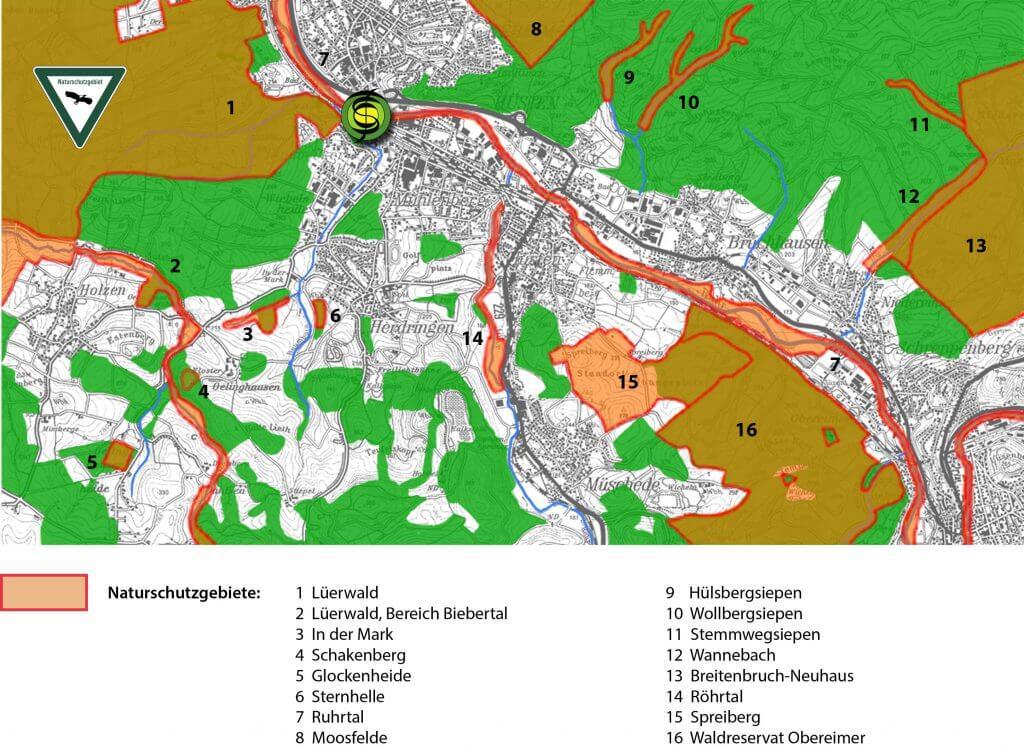 Naturschutzgebierte im westlichen Stadtgebiet von Arnsberg