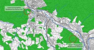 Lage der beiden Untersuchungsflächen zur Verbreitung der Schriftflechte im Rumbecker Holz und im Waldreservat Obereimer nahe des Jugend-Waldheims. Beide Flächen liegen in der Laubwaldzone auf der Nord-Ost-Abdachung zum Ruhrtal.