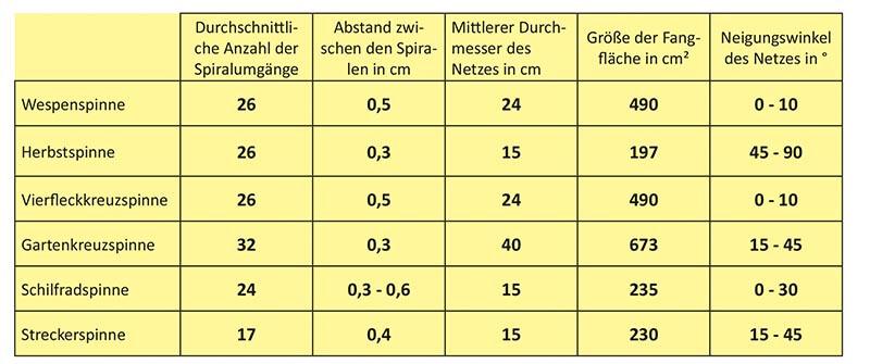 Merkmale der Radnetze von 6 Spinnenarten in Graslandhabitaten.