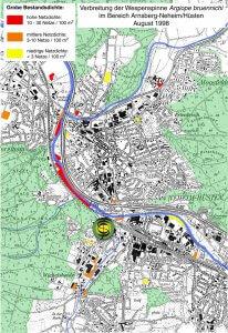 Vorkommen der Wespenspinne in den Stadtteilen Neheim und Hüsten 1998.
